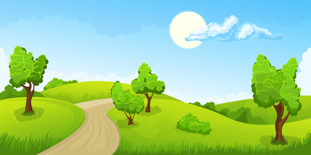 horizons: Cartoon illustration of the rural summer landscape with road Illustration