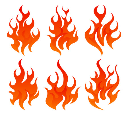 Six simple fire icon on white background Illustration