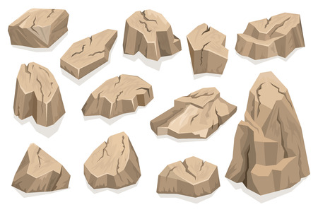Rock stone set cartoon Vetores