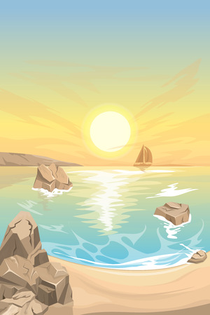 Seascape sunset. Vector landscape