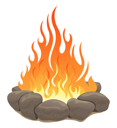Large bonfire surrounded by stones
