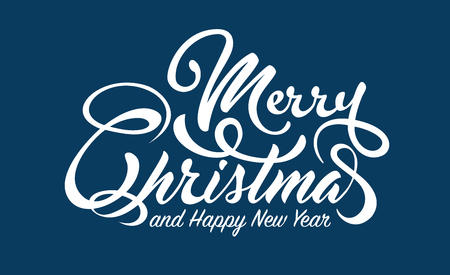 White text Marry Christmas and Happy New Year on blue illustration.