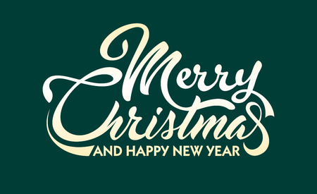 White text Marry Christmas and Happy New Year illustration.