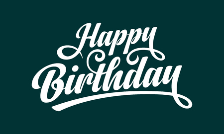 Happy Birthday text vector illustration with white calligraphy ink on green background