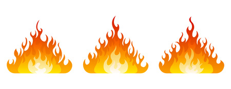 3 fire icon with flatten bottom design element on white background