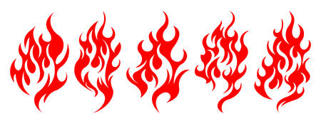 Set of vector fire design elements illustration design