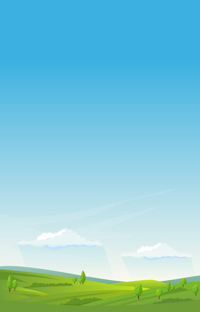 Vertical summer landscape background Vector illustration.