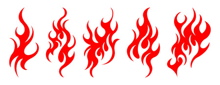 Set of vector fire design elements Illustration