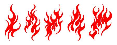 Set of vector fire design elements Stock Illustratie