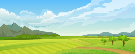 Rural summer landscape with mountain Ilustrace