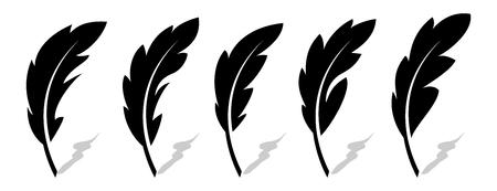 Feather vector icons Vektorové ilustrace