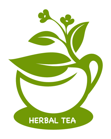 Herbal tea Eco product logo Vector illustration.