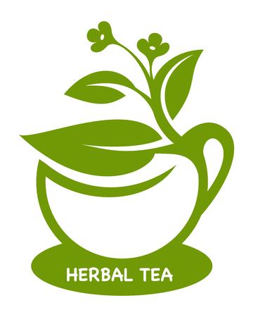 Herbal tea Eco product logo Vector illustration.