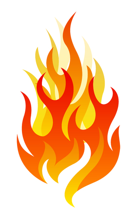 Single fire design element on white background