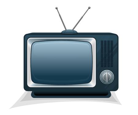 Retro tv with round switch and analog antenna