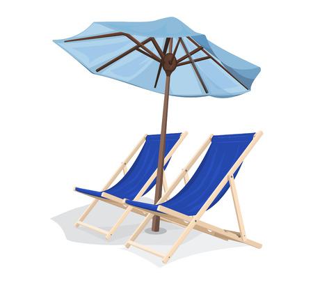 beach chair with umbrella Illustration