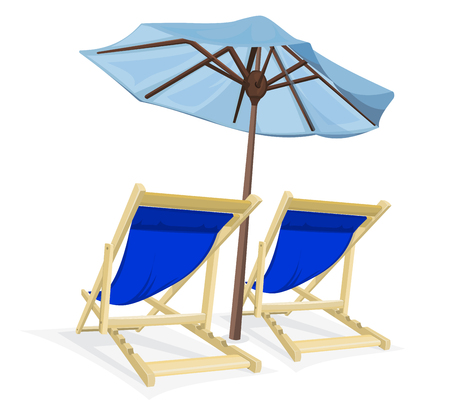 Two beach chair with umbrella on white background