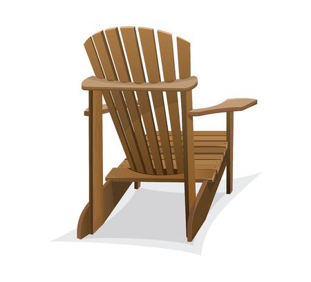 Wooden beach chair. Vector illustration.