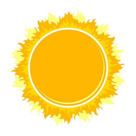 Burning round frame like sun on white backgrouns