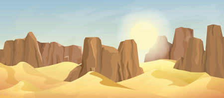 Desert landscape with rocks and sun on sky