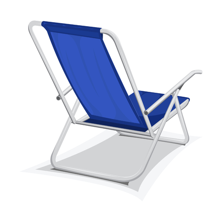 Steel blue beach chair isolated on white background