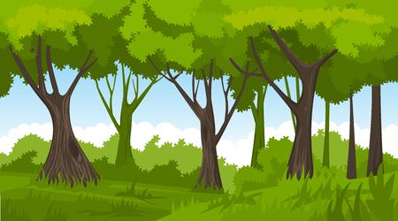 Caertoon summer forest landscape. Vector forest background. 向量圖像