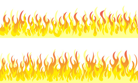 Cartoon fire flame frame borders. Seamless orange fire border Ilustracja