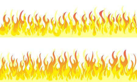 Cartoon fire flame frame borders. Seamless orange fire border Illustration