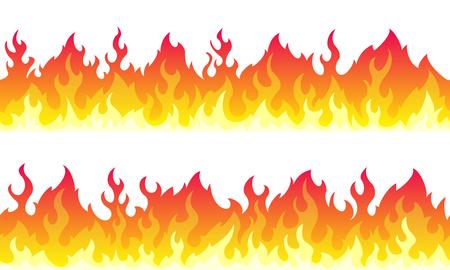 Granice ramki kreskówka ogień płomień. Bezszwowa pomarańczowa granica ognia Ilustracje wektorowe
