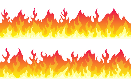 Cartoon fire flame frame borders. Seamless orange fire border Illustration