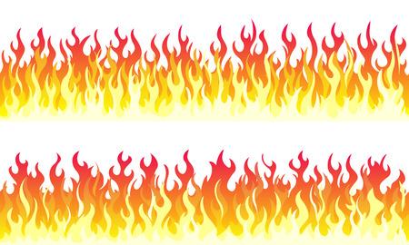 Bordi del telaio di fiamma di fuoco del fumetto. Bordo arancione senza giunte del fuoco