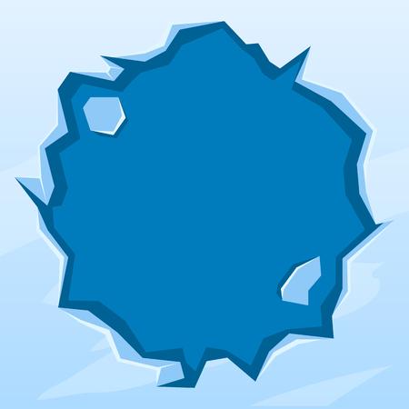 Round ice frame. Ice-hole. Winter design element