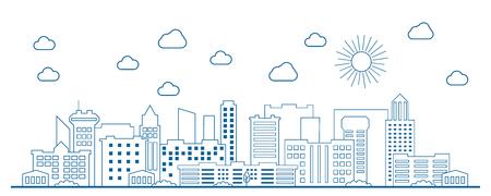 Strichzeichnungen des modernen Großstadthintergrundes mit Wolkenkratzern. Vektorgrafik