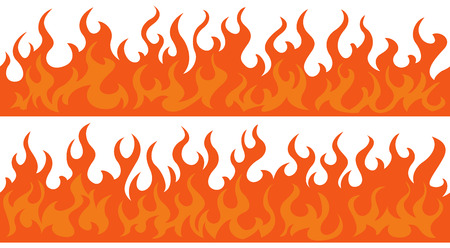 Cartoon fire flame frame borders. Seamless orange fire border Çizim