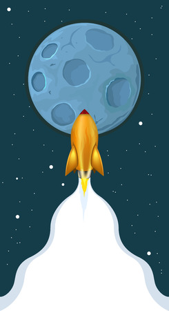 Space exploration. rocket flying to the moon. the trail of the rocket engine expands to the bottom for your text Ilustração