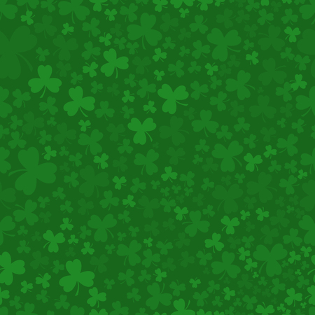 Green Patrick day seamless pattern with clovers Illustration