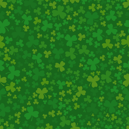Green Patrick day seamless pattern with clovers