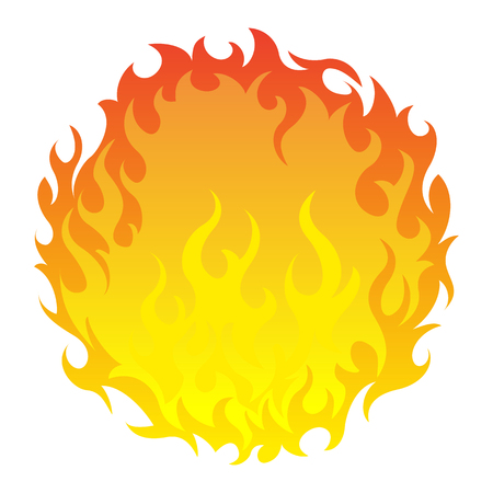 Vector illustration round fireball icon on white background