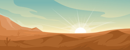 Desert landscape illustration with dune. Vector nature horizontal background