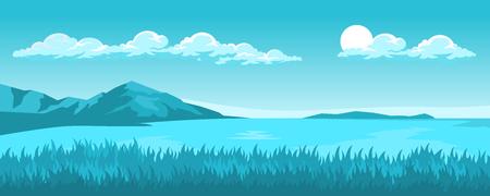 Seelandschaft mit Gras im Vordergrund und Bergen und Insel im Hintergrund Vektorgrafik