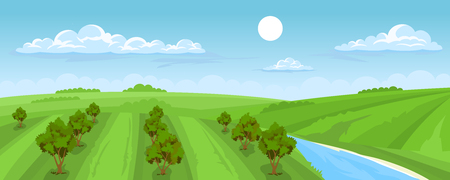 Cartoon illustration of the rural summer landscape with fruit trees and river and sky 일러스트