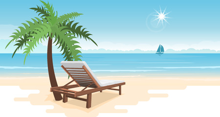 Tropical paradise beach with palm and beach bench. Travel and tourism. panorama background