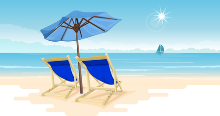 Tropical paradise beach with two beach chairs and a large umbrella. Travel and tourism. panorama background