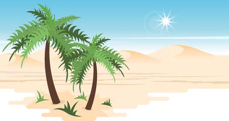 Desert landscape with palms Çizim