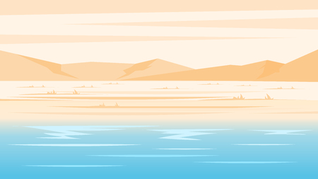 Deserted beach in pastel colors. Travel and tourism. panorama background  Illustration