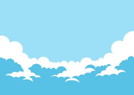 Fondo de cielo simple de ilustración vectorial con nubes