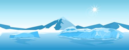 Paisaje de hielo ártico de invierno de naturaleza de dibujos animados con iceberg Ilustración de vector
