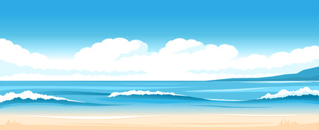 Vector illustration of seascape with ocean shore and clouds  イラスト・ベクター素材