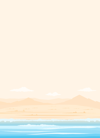 Deserted beach in pastel colors. Travel and tourism. panorama background Ilustrace