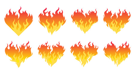 8 bonfire icon burning hearts on white background